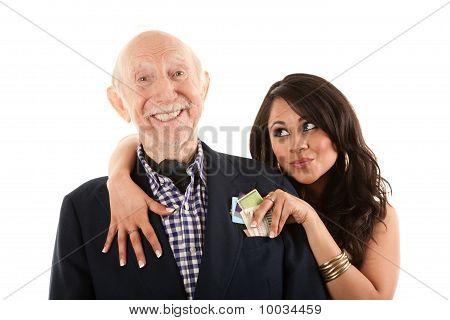 reiche älterer Mann mit Gold Digger Begleiter oder Frau