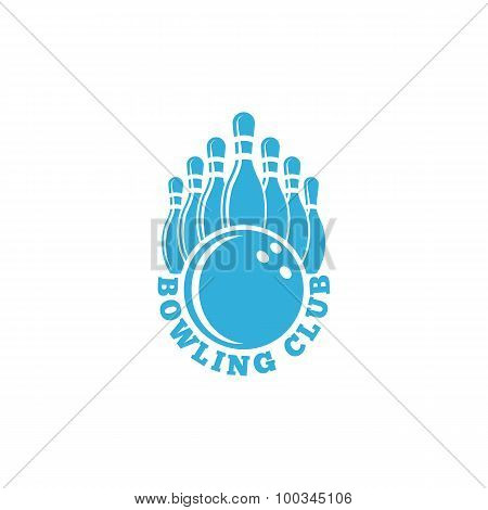 Bowling Club Logo. Blue Sport Emblem With Ball And Ninepins, Bowling Alley Tournament Banner