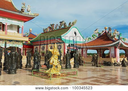 Exterior of the statues of Chinese Shaolin monks at Viharn Sien Chinese temple in Pattaya Thailand.