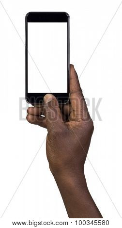 Man taking a picture using a smart phone. Isolated on white