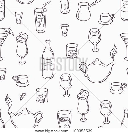 Seamless pattern with outline style drinks. Background with beverages in black and white