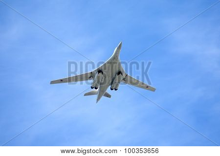 Russian military aircraft Tu-160 in flight