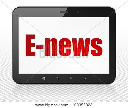 News concept: Tablet Pc Computer with E-news on display