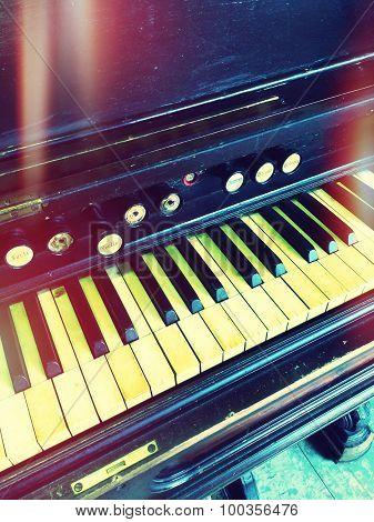Antique Reed Organ, Retro Style Photo