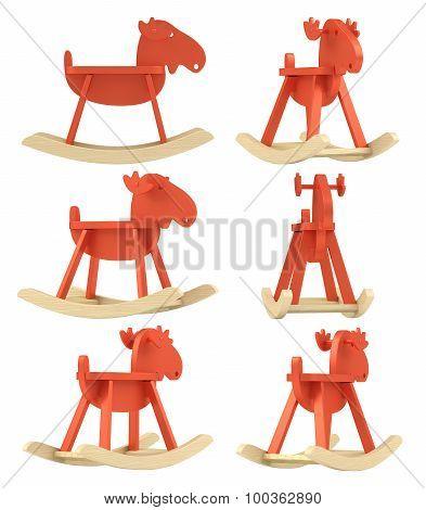 Set of wooden elk, rocking toy