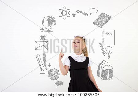 Back To School Concept, Schoolgirl Get An Idea, Isolated