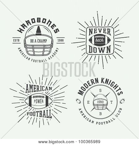 Set Of Vintage Rugby And American Football Labels, Emblems And Logo