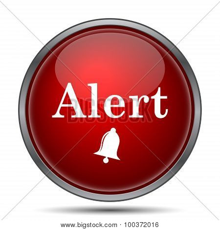 Alert icon. Internet button on white background. poster