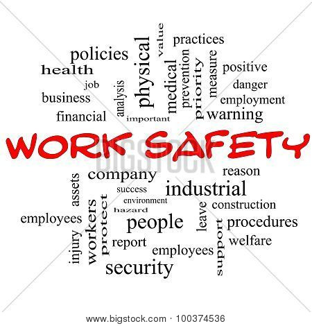 Work Safety Word Cloud Concept In Red Caps