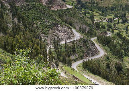 An aerial view of the Peruvian roadway near Cusco in Peru. poster