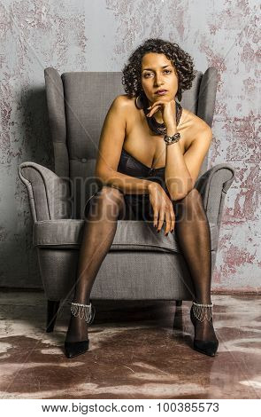 Beautiful mulatto girl in lingere