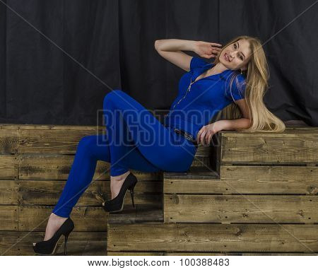 Blonde girl with long hair in blue overalls sits on a wooden ladder poster