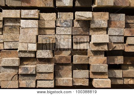 Pile Of Stacked Rough Cut Lumber