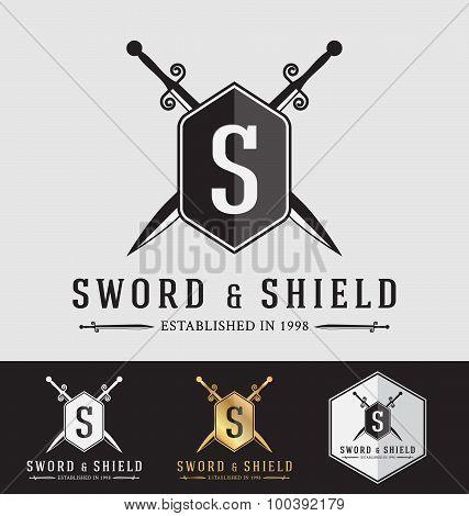 Modern Vintage Sward And Shield Logo Crest Design