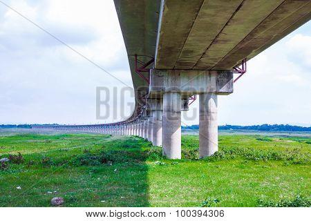 Railway Bridge Across The Pasak Large Water Storage