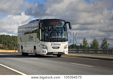White VDL Futura Coach Bus On The Road