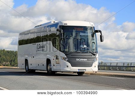 White Scania Touring Bus On The Road At Summer