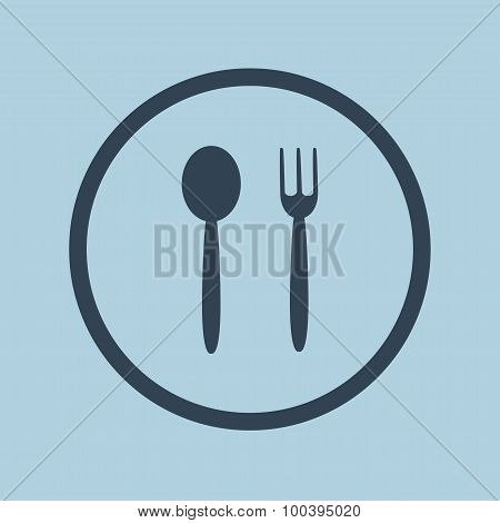 Fork and spoon icon. Emblem of food. Vector illustration.