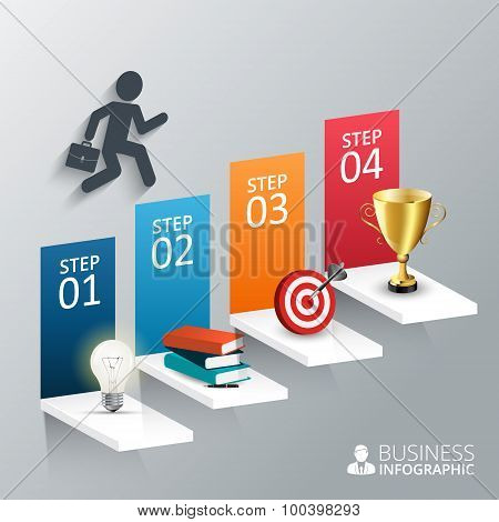 Vector illustration of the four steps to success.