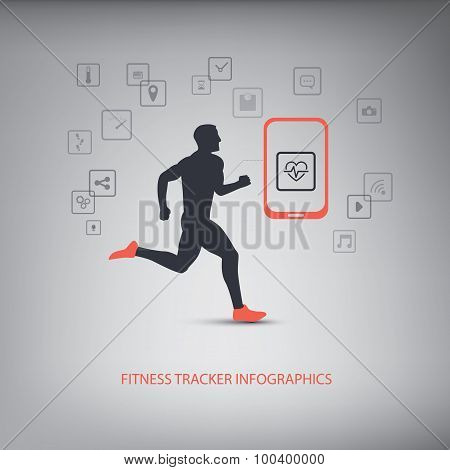 Smartphone icons for monitoring health and fitness with man running silhouette.