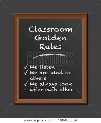 classroom rules chalk board