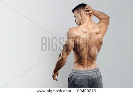 Handsome Power Athletic Man Turned Back