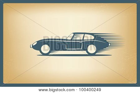 Vintage sports car on old worn paper background with speed effect.