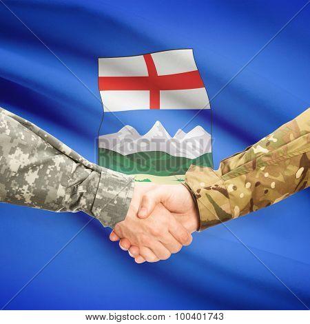 Military Handshake And Canadian Province Flag - Alberta
