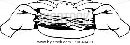 Hamburger black and white