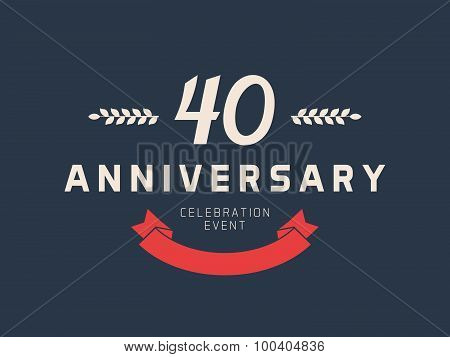 Forty years anniversary celebration logotype. 40th anniversary logo. Vector illustration. poster