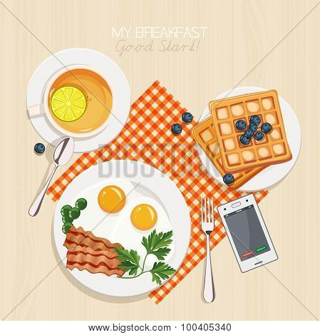 Breakfast set with tea