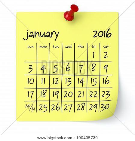 January 2016 - Calendar