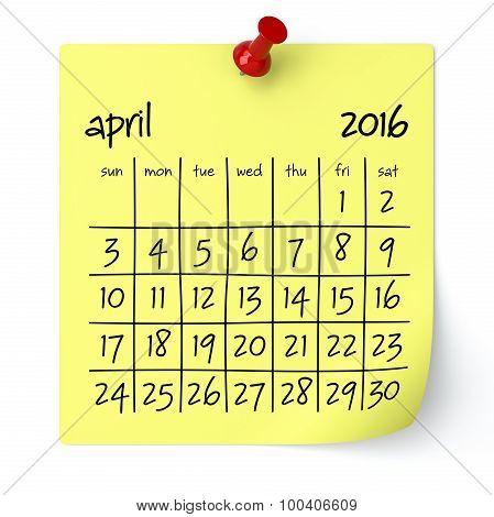April 2016 - Calendar