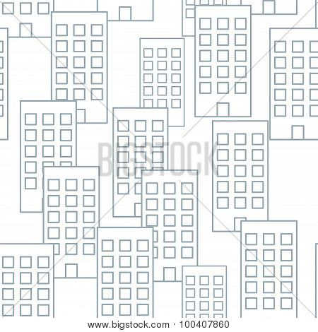 Building Seamless Pattern. Vector Seamless Background Housing. Abstract Retro Fabric Ornament