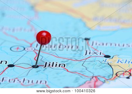 Jilin pinned on a map of Asia