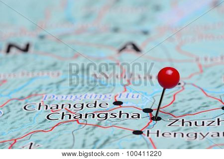 Changsha pinned on a map of Asia