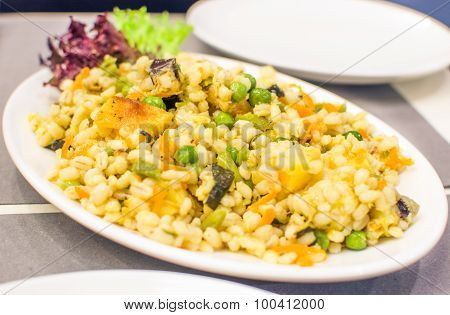 yelllow Barley Salad orange elegant restaurant
