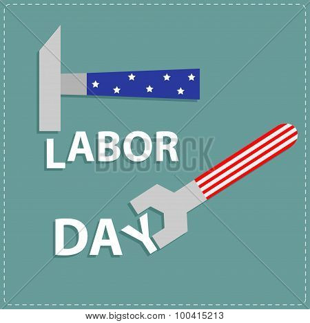 Happy Labor Day Wrench Key And Hammer With Star Stip Flat Design