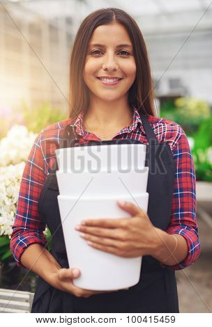 Pretty Young Worker In A Floriculture Business