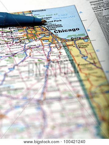 Closeup map of city Chicago for travel destination driving