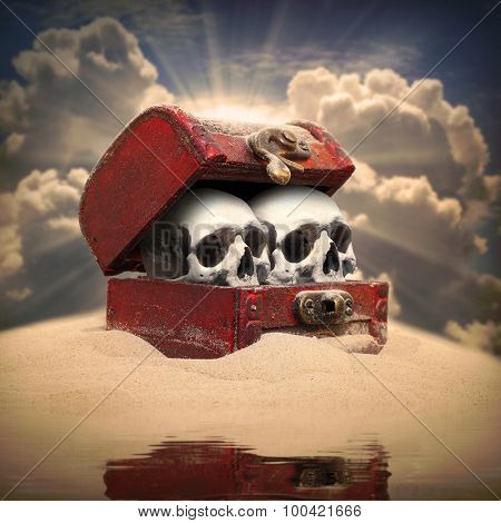 Treasure chest with skulls on a deserted island. Skeleton in the cupboard or closet metaphor.