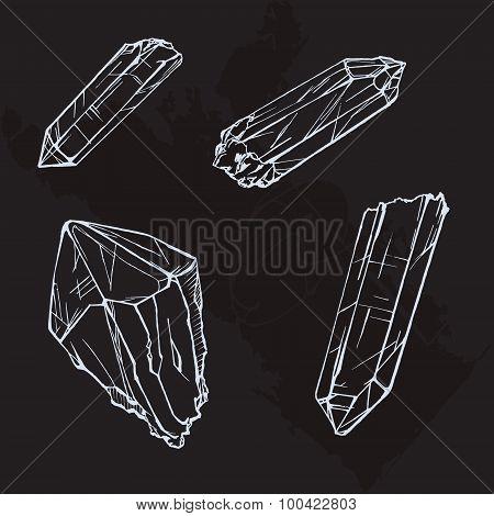 A hand drawing crystals set. Crystal gems sketch illustration poster