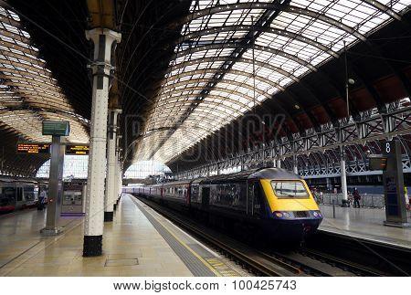 Train travelling into Paddington station, London England