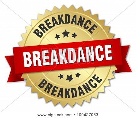 Breakdance 3D Gold Badge With Red Ribbon