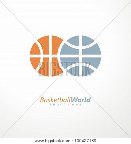 Basketball ball and globe combined from identical shapes.