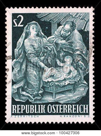 AUSTRIA - CIRCA 1963: A stamp printed in Austria, shows a Baroque Creche by Josef Thaddaus Stammel, Christmas, circa 1963