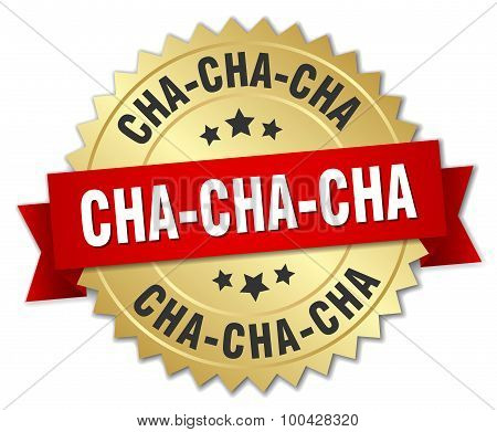 Cha-cha-cha 3D Gold Badge With Red Ribbon