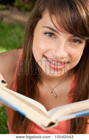 Young teen reading