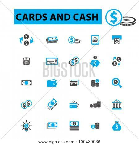 Cards and cash icons concept. Money, finance, banknote, payment, cash register, stack of cash, dollar, pile of cash, dollar bill, bank, euro. Vector illustration set.