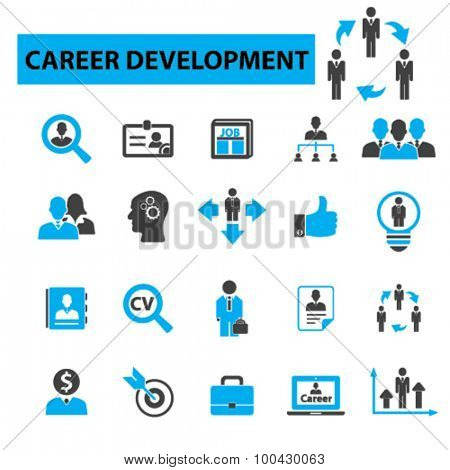 Career development icons concept. Job, cv, job search, human resources, career opportunities, career path, recruitment. Vector illustration set.